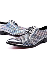 Men's Shoes Real Leather Winter Fall Formal Shoes Novelty Oxfords Sparkling Glitter For Wedding Party & Evening Silver
