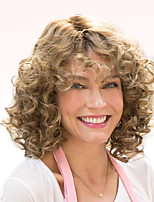 Women Human Hair Capless Wigs Chestnut Brown/Bleach Blonde Medium Length Afro Curly Highlighted/Balayage Hair