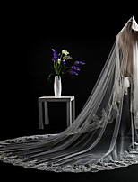 cheap -Two-tier Cut Edge Lace Applique Edge Modern Sequins Wedding Veil Cathedral Veils Headpiece With Applique Paillette Lace Tulle Sequins