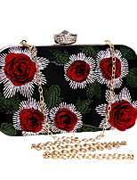 Women Bags Polyester Evening Bag Embroidery for Wedding Event/Party All Season Gold Silver Red
