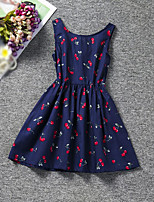 Girl's Holiday Daily Solid Floral Fruit Dress