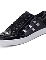 cheap -Men's Shoes Patent Leather Spring Fall Comfort Sneakers for Casual White Black