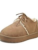 preiswerte -Damen Schuhe Nubukleder PU Winter Herbst Komfort Schneestiefel Stiefel Flach Runde Zehe Für Normal Schwarz Grau Braun