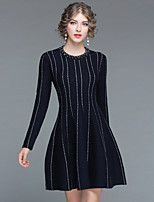 EWUS Women's Going out Casual/Daily Street chic Skater Dress,Striped Round Neck Knee-length Long Sleeve Wool Acrylic Fall Winter Medium Waist