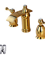 Contemporary Deck Mounted Waterfall Ceramic Valve Two Handles Three Holes Ti-PVD , Bathroom Sink Faucet