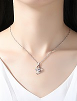 cheap -Women's Simple Elegant Pendant Necklace Cubic Zirconia Rhinestone Silver Cubic Zirconia Pendant Necklace , Wedding Evening Party