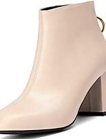 abordables -Femme Chaussures Polyuréthane Hiver Automne Semelles Légères Bottes Block Heel Bout pointu Bottes Mi-mollet Pour Décontracté Noir Beige