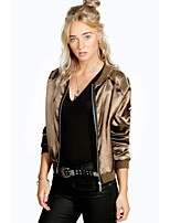 cheap -Women's Casual/Daily Simple Winter Fall Leather Jacket,Solid V Neck Long Sleeve Short Polyester
