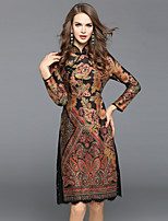 Women's Daily Going out Sexy Street chic Chinoiserie A Line Sheath Dress,Floral Stand Midi 3/4 Sleeve Polyester Winter Fall Mid Rise