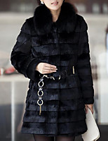 Women's Daily Going out Street chic Winter Fall Fur Coat,Solid Round Neck Long Sleeves Long Faux Fur Fur Trim