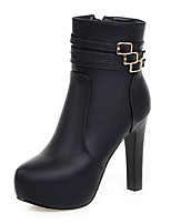 cheap -Women's Shoes Leatherette Winter Fashion Boots Bootie Boots Round Toe Mid-Calf Boots Buckle For Casual Dress Gray Black
