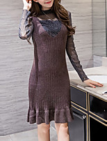T-shirt Vestiti Completi abbigliamento Da donna Da tutti i giorni Casual Romantico Autunno Inverno,Tinta unita Colletto alla coreana