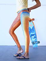 preiswerte -Damen Vintage Stil Streife Mittel Elasthan Gestreift Solide Genähte Spitzen Bedruckt Legging,Regenbogen