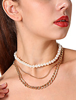 cheap -Women's Simple Classic Fashion Multi Layer Choker Necklace Layered Necklace Imitation Pearl Alloy Choker Necklace Layered Necklace ,