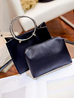 cheap -Women Bags PU Bag Set Zipper for Casual All Season Black Light Gray