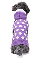 Cat Dog Coat Sweater Hoodie Dog Clothes Casual/Daily Keep Warm New Year's Polka Dot Purple Costume For Pets