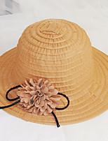 Для женщин Очаровательный Для вечеринки На каждый день Панама Соломенная шляпа Шляпа от солнца,Лето Все сезоны Лён Однотонный Цветочный