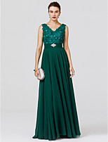 A-Line Princess V-neck Floor Length Chiffon Formal Evening Dress with Beading Appliques Sash / Ribbon by TS Couture®