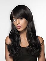 cheap -Women Human Hair Capless Wigs Honey Blonde Black Long Wavy Side Part