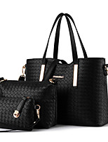 cheap -Women Bags PU Bag Set 3 Pcs Purse Set Buttons for Casual Office & Career All Season Champagne Gold White Black Red