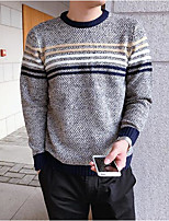 Men's Daily Casual Regular Pullover,Striped Round Neck Long Sleeves Cotton Spring/Fall Medium Micro-elastic