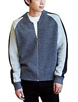 Men's Casual/Daily Work Regular Cardigan,Color Block V Neck Long Sleeves Polyester Autumn Winter Medium Micro-elastic