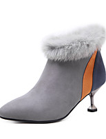 cheap -Women's Shoes Suede Fall Winter Comfort Novelty Bootie Boots Pointed Toe Booties/Ankle Boots Feather For Wedding Party & Evening Gray