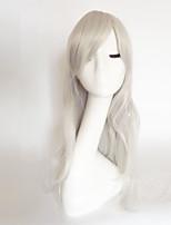 abordables -Mujer Pelucas sintéticas Medio Largo Ondulado Natural Blonde Morado Azul Verde Negro Con flequillo Peluca natural Peluca de fiesta