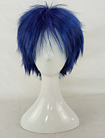 Men Synthetic Wig Capless Short Curly Black/Blue Layered Haircut Party Wig Cosplay Wig Costume Wig