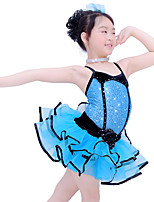 Kids' Dancewear Outfits Children's Performance Spandex Elastic Organza Velvet Sequined Crystals/Rhinestones Paillette Sleeveless Dropped