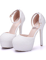 Women's Shoes Real Leather All Season Comfort Novelty Wedding Shoes Round Toe For Wedding Party & Evening White