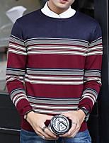 Corto Pullover Da uomo-Casual A strisce Rotonda Manica lunga Rayon Poliestere Autunno Inverno Medio spessore Media elasticità