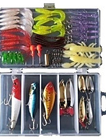 63 pcs Jig Head Grub Soft Jerkbaits Hard Bait Soft Bait Craws / Shrimp Minnow Popper Lure Packs g/Ounce mm inch,Plastic Sea Fishing Bait