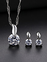 Women's Stud Earrings Pendant Necklaces Cubic Zirconia Rhinestone Vintage Elegant Wedding Evening Party Silver Cubic Zirconia