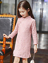 cheap -Girl's Daily Going out Solid Dress,Rayon Long Sleeves Chinoiserie Blue Blushing Pink Fuchsia
