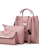 Women Bags All Season PU Bag Set 3 Pcs Purse Set Zipper for Casual Red Blushing Pink Beige Gray Camel