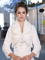 3/4 Length Sleeves Faux Fur Wedding Party / Evening Women's Wrap With Printing Lace-up Pom-pom Shrugs