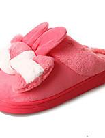 Women's Shoes Fleece Winter Comfort Slippers & Flip-Flops Round Toe For Outdoor Red