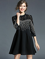 YHSP Women's Daily Going out Casual Street chic A Line Loose Little Black Dress,Embroidered Round Neck Above Knee 3/4 Sleeve Polyester Fall