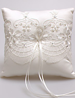 Satin Lace Beads Silk Ring Pillows Wedding Ceremony