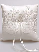 satin dentelle perles anneau de soie oreillers cérémonie de mariage