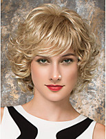 Women Human Hair Capless Wigs Strawberry Blonde/Light Blonde Medium Auburn Black Medium Length Kinky Curly Side Part