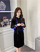 Women's Casual/Daily Simple Winter Set Skirt Suits,Solid Round Neck Long Sleeves Polyester