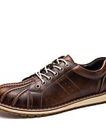 Для мужчин обувь Натуральная кожа Кожа Полиуретан Весна Лето Удобная обувь Светодиодные подошвы Туфли на шнуровке Шнуровка Комбинация