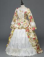 Vittoriano Rococò Donna Per adulto Vestito da Serata Elegante Stile Carnevale di Venezia Beige Cosplay Satin elasticizzato Manica lunga