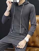 cheap -Men's Daily Going out Hoodie Solid Hooded Micro-elastic Polyester Long Sleeves Spring Fall