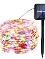 Énergie solaire approvisionnement chaîne lumière 10 mètres 100 lumières argent ligne lumières étoiles guirlandes intérieure extérieure