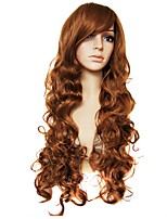 Women Synthetic Wig Capless Long Natural Wave Brown Natural Wigs Costume Wig