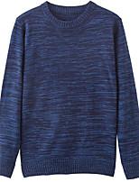 Men's Daily Regular Cardigan,Polka Dot Round Neck Long Sleeves Cotton Autumn/Fall Medium Inelastic