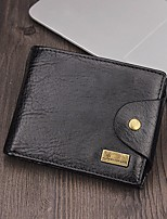 Men Bags leatherette Wallet Buttons for Casual All Season Black Coffee